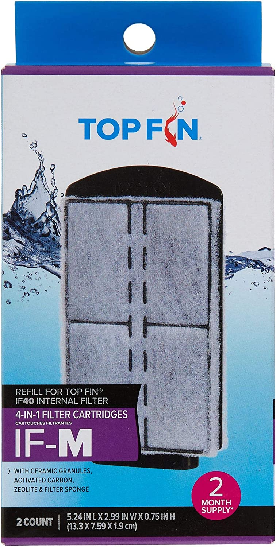 Top Fin 4-in-1 Internal Filter Cartridges IF-M (Medium) Refill for IF40 Internal Filter (2 Count)
