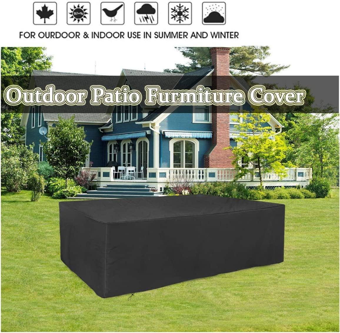 Amazon Com Garden Furniture Covers Waterproof Outdoor Furniture Table Cover With Storage Bag Heavy Duty Patio Furniture Covers Breathable 420d Oxford Fabric Patio Table Cover Prevent Bad Weather Black Garden