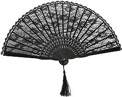 OULII Hand Fan Paper Fans Wedding Fans for Party Favor Fancy Dress (Black)