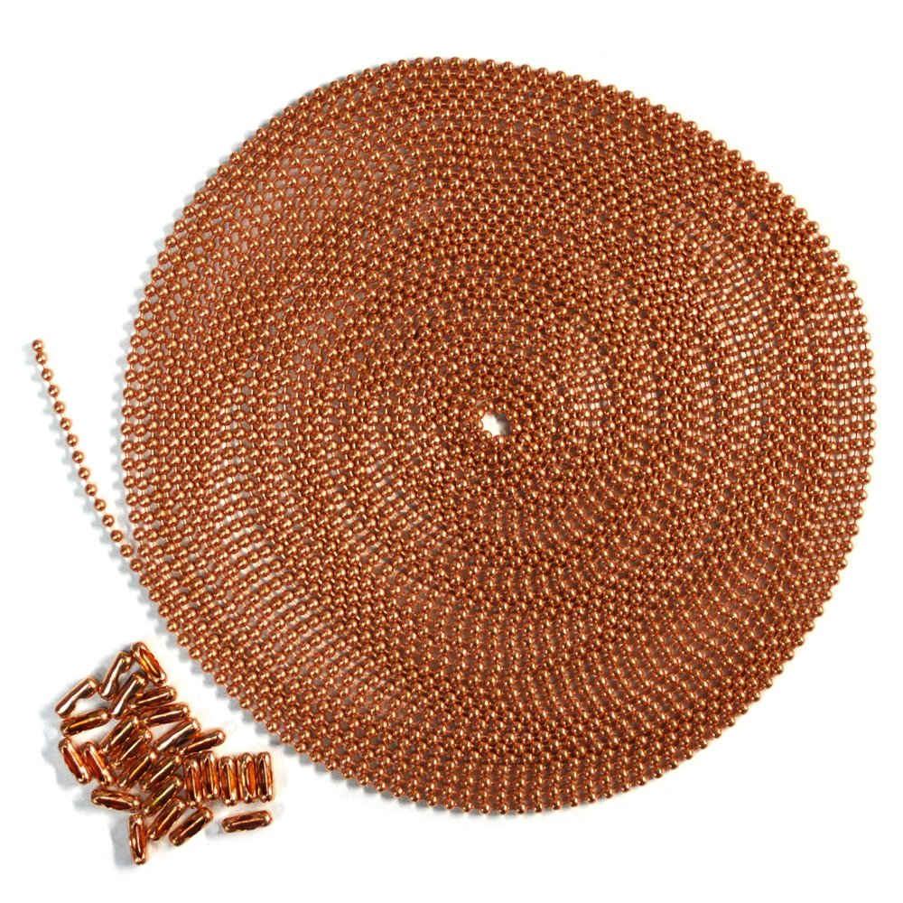 25 Foot Length Ball Chain, #6 Size, Copper, & 25 Matching Connectors by Ball Chain Manufacturing