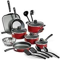 18-Piece Tramontina PrimaWare Nonstick Cookware Set (Red/Steel Gray)