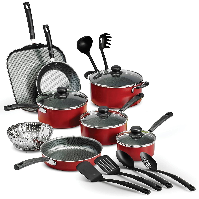 Tramontina PrimaWare 18-piece Nonstick Cookware Set,レッド|強化ガラス蓋18-piece Nonstick Cookwareセット – レッド   B01LZH1C88