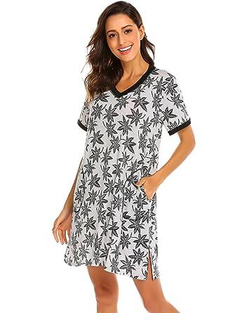 fd37c53e84 Ekouaer Women s Sleepshirt Short Sleeve Nightwear Night Gown (Grey Print