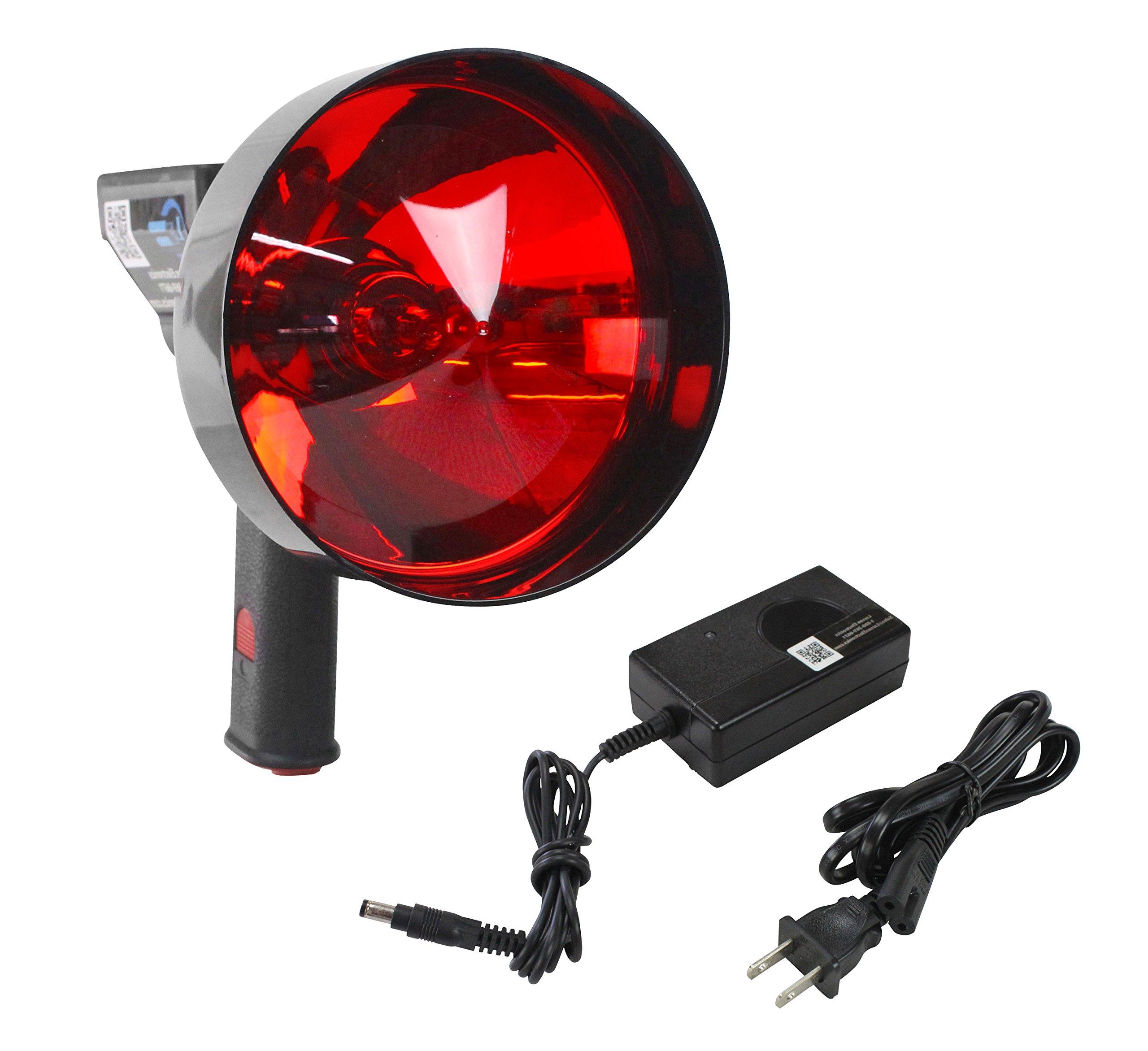 5 Million Candlepower Handheld Rechargeable Spotlight - Red Hunting Lens - 5''/7'' Lens - Spot/Flood(-