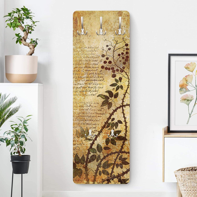 Bilderwelten Appendiabiti a Parete Intagliato Asiatico Porta di Legno da Thailand 139x46cm