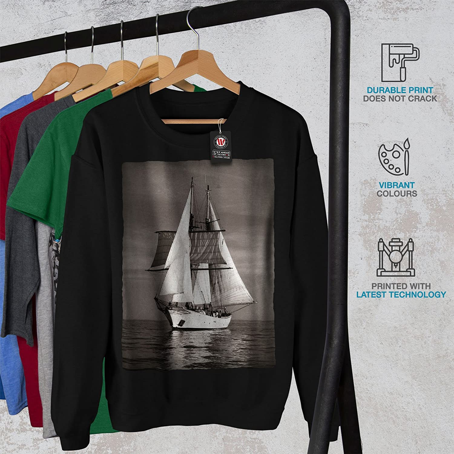 wellcoda Ship Retro Sea Mens Sweatshirt Vintage Casual Jumper