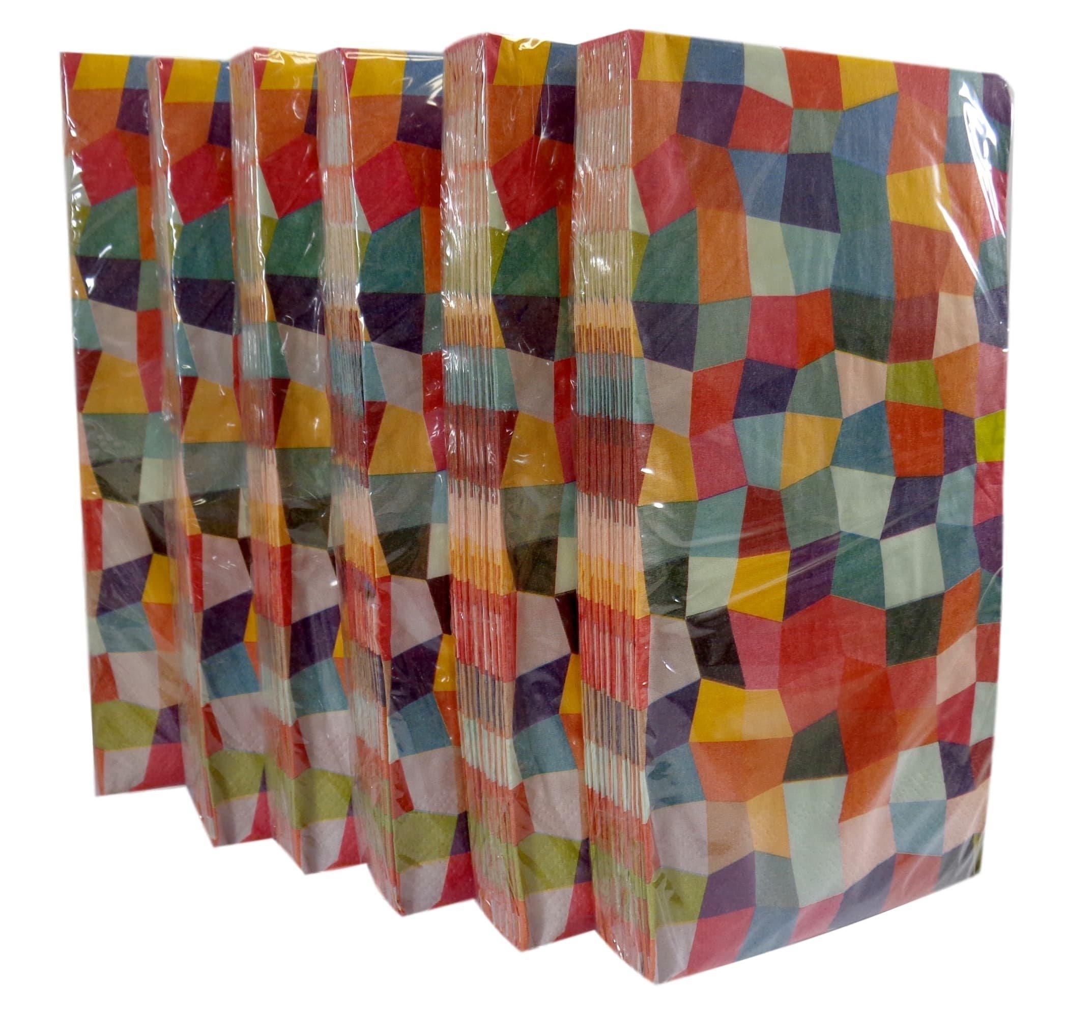 Bulk Buy: Rainbow Mosaic Paper Guest Towels / Dinner Napkins. Pack of (6).