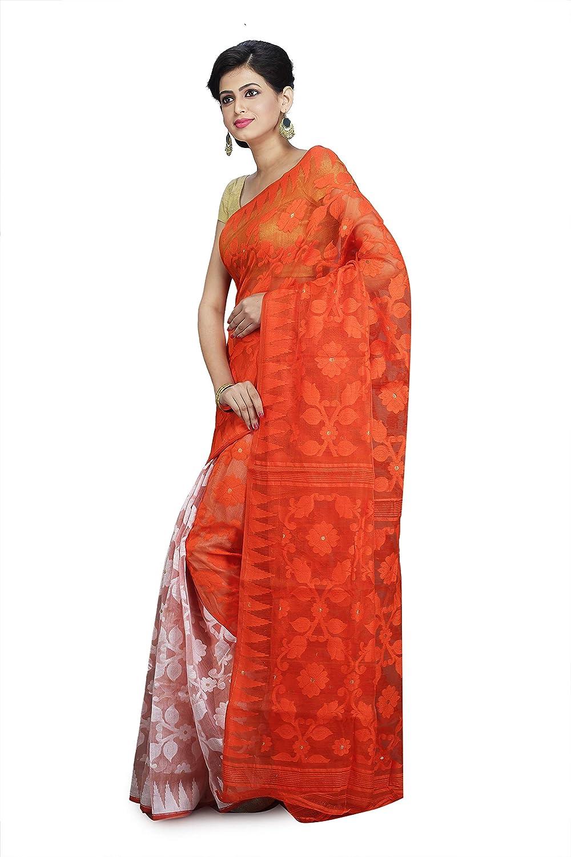 Best Designer Embroidered Handloom Linen-Cotton Blend Dhakai Jamdani Saree