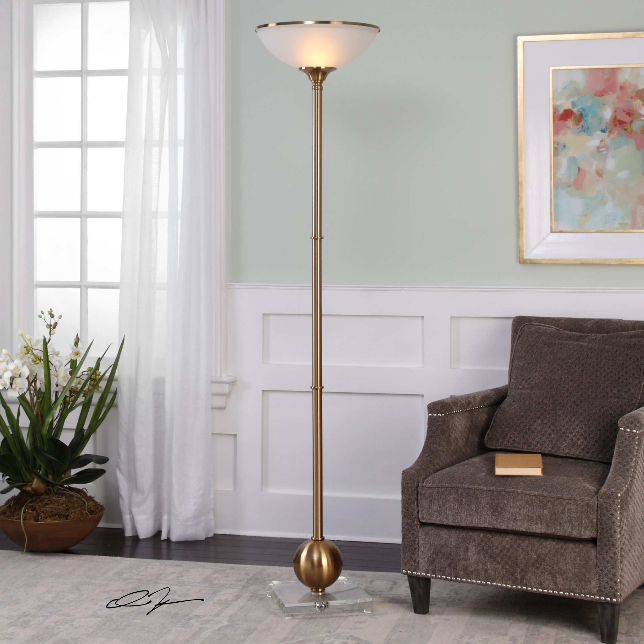 Luxe Brushed Brass Sphere Column Floor Lamp | Frosted Glass Shade Uplight Gold by My Swanky Home (Image #2)