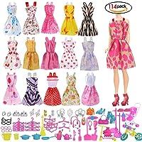 114 PCS Mini Mignon Jupe poupée Robes Vêtements Sac Costume Boucle d'OreilleChaussure Accessoire Poupée Barbie