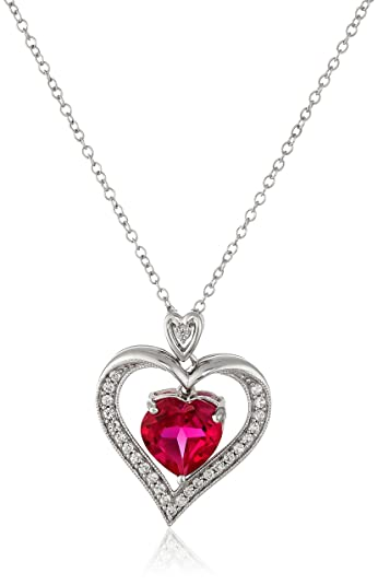 Amazon sterling silver created ruby heart with created white sterling silver created ruby heart with created white sapphire pendant necklace 18quot aloadofball Gallery