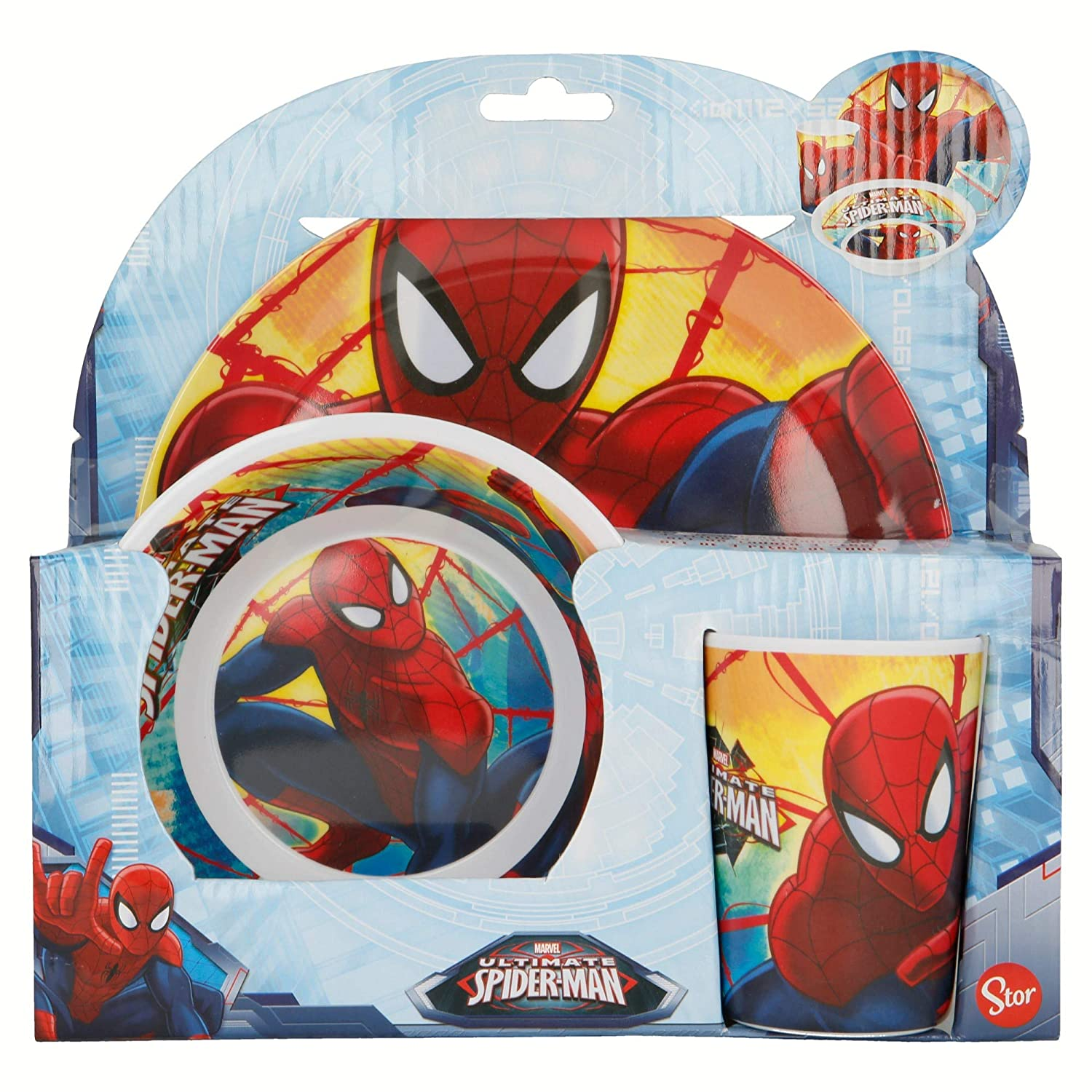 SPIDERMAN RED WEBS SET MELAMINA 3 PCS. PLATO, CUENCO Y VASO