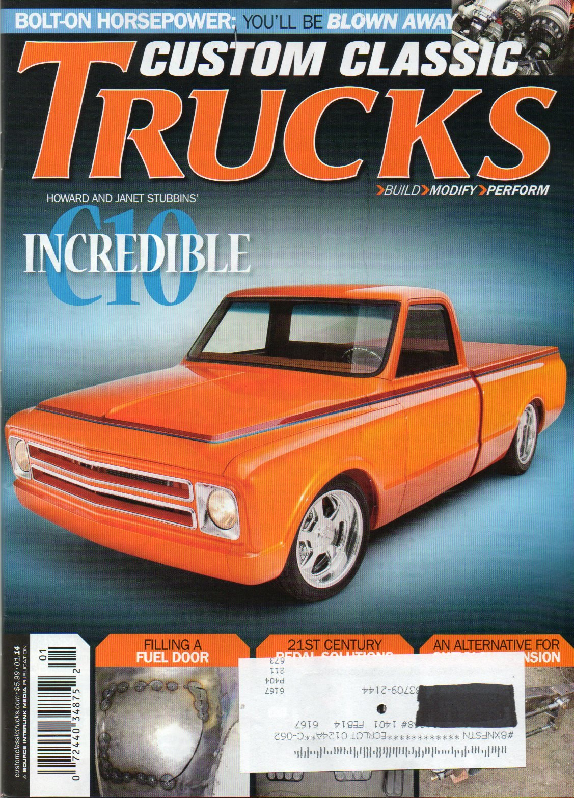 Read Online Custom Classic Trucks Magazine January 2014 BOLT-ON HORSEPOWER Filling A Fuel Door '54 EFFIE '49 Chevy BRAKE CLUTCH AND THROTTL PEDAL SOLUTIONS Chevy Pickup Gets A Powercoated Chassis pdf epub