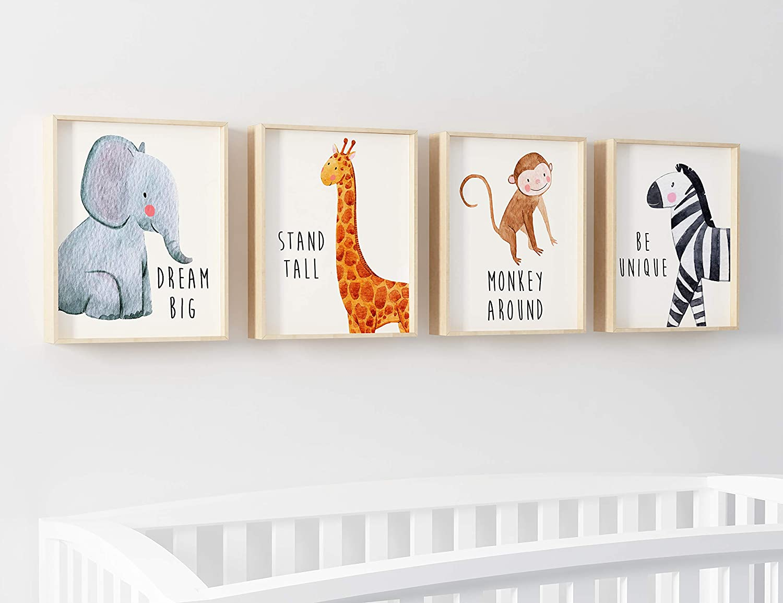 Set of 6 8x10in. Safari Baby Animals Inspirational Art Baby Nursery Decor Kids Bedroom Inspirational Quotes Boys /& Girls Room Baby Room Decor Playroom Wall Art Decor Prints Motivational Art