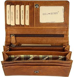 6208054b54622 Hill Burry hochwertige Vintage Leder Damen Geldbörse Portemonnaie langes  Portmonee Geldbeutel aus weichem Leder in braun