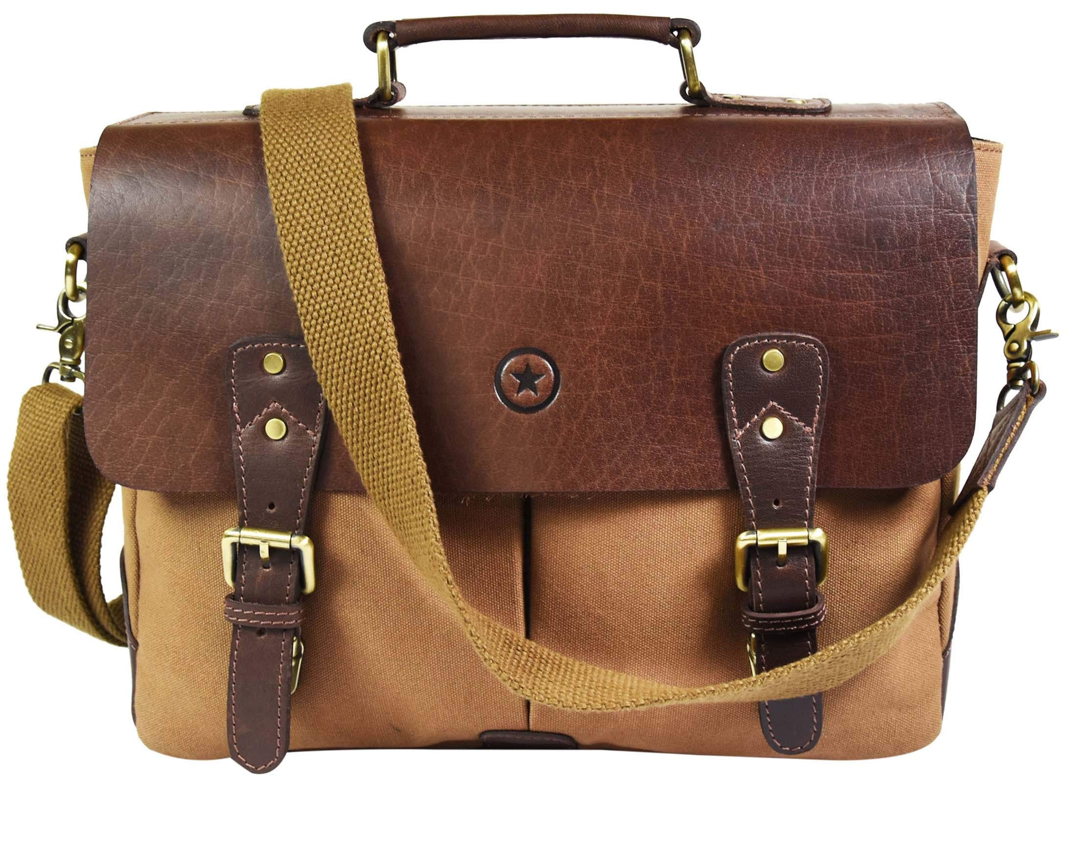 """14.5"""" Vintage Handmade Leather Canvas Messenger Bag 