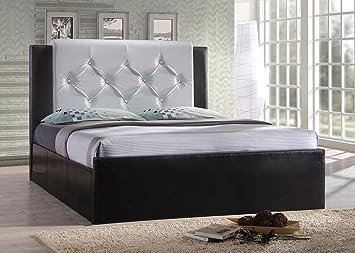 Hodedah Import Full Leather Platform Bed, Full, Black/White