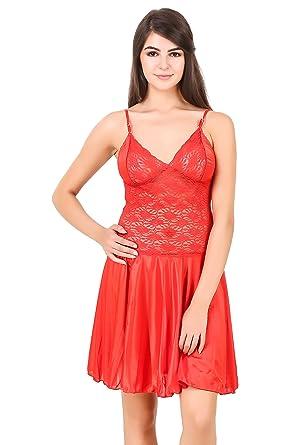 PHWOAR Women s Red Satin Nightdress Nightwear Lingerie  Amazon.in  Clothing    Accessories 3d07db48a