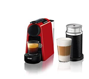 Nespresso Essenza Mini Espresso Machine by De'Longhi with Aeroccino, Red