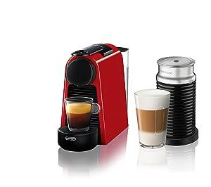 Nespresso Essenza Mini Espresso Machine by De'Longhi with Aeroccino, Red