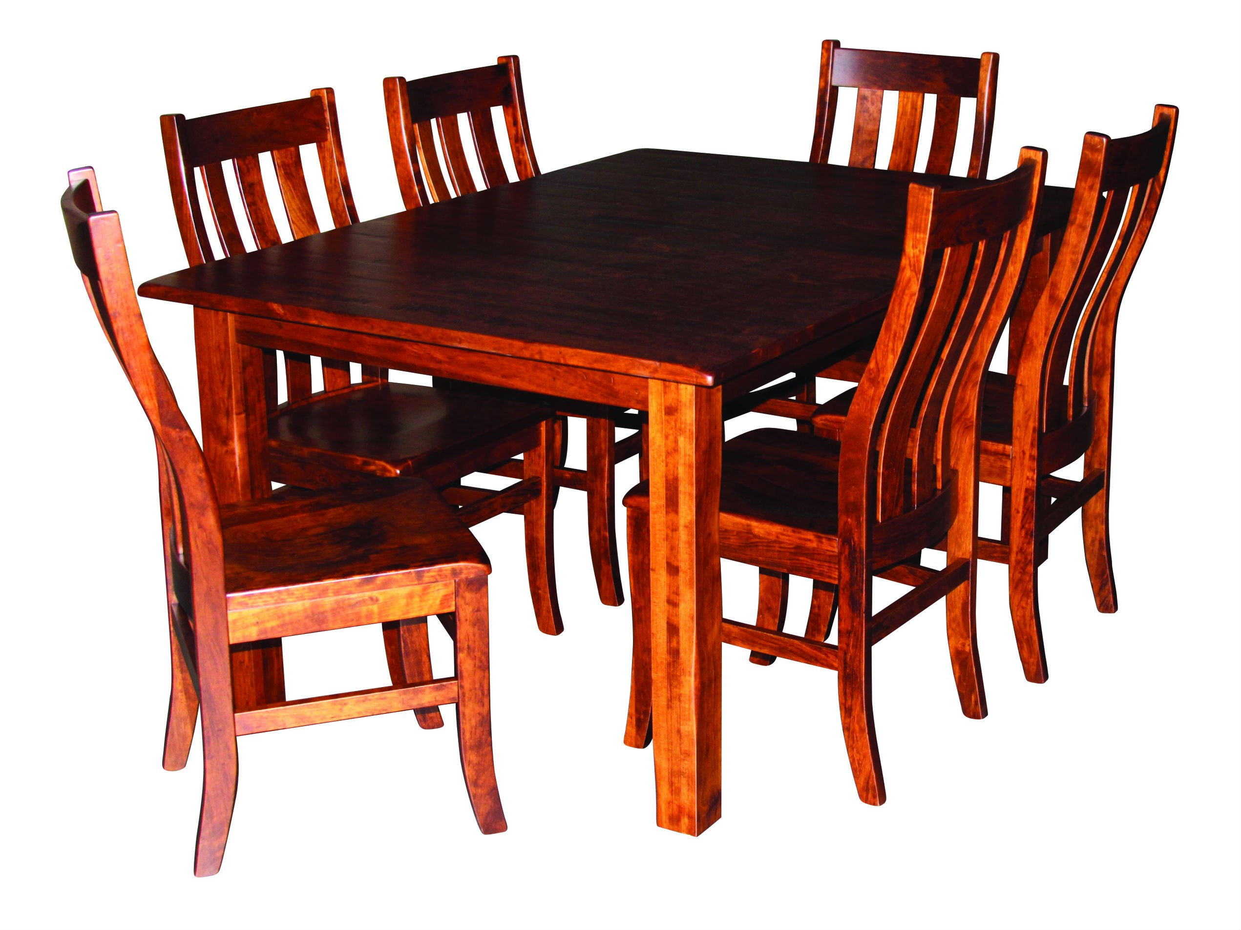 Aspen Tree Interiors Amish Made 9 Piece Solid Wood Cherry Kitchen Dining Room Table for 6 Set - Heirloom Furniture for  the  Holidays and Everyday, White Glove Delivery, 2 Leaves by ASPEN TREE INTERIORS