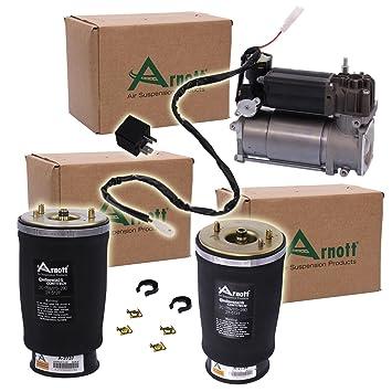 Original Arnott 2 x plumín de aire Fuelle Suspensión aire suspensión neumática trasera derecha Izquierda + 1 x Original Wabco Compresor ...