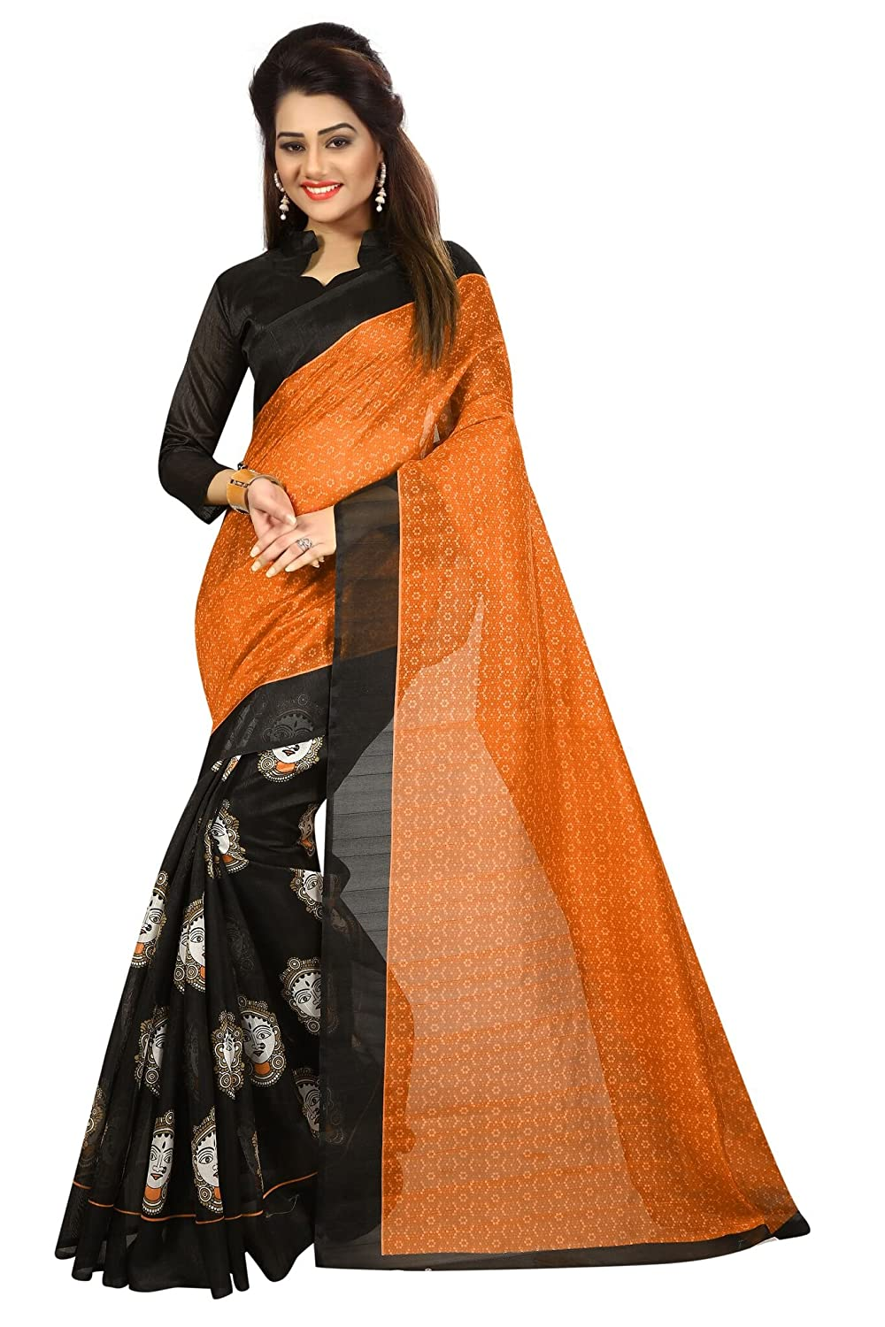 Shonaya Women`S Black & Orange Colour Bhagalpuri Silk Printed Saree MAHALAXMI-FENTA-BHAGALPURI