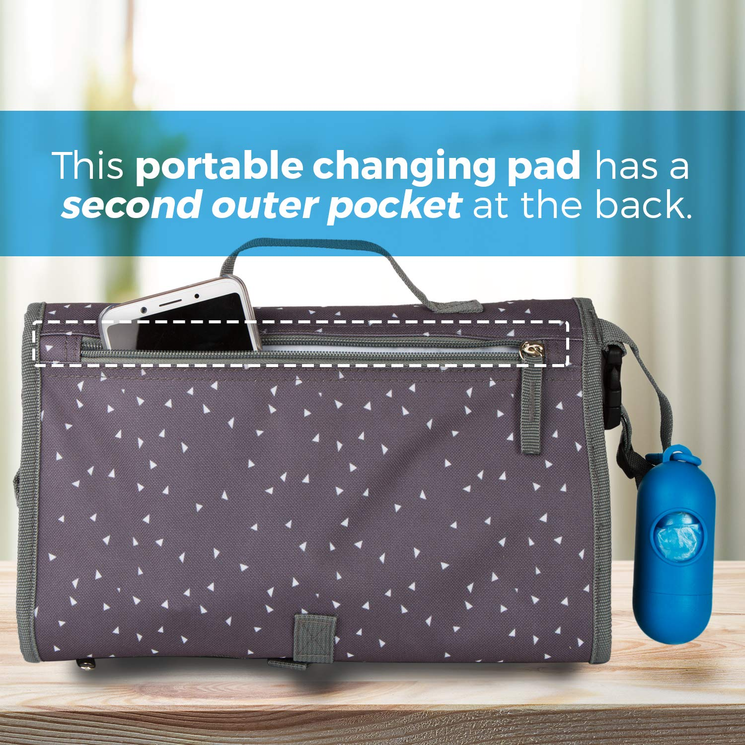 Portable Diaper Changing Pad Clutch Baby Changing Station with Disposable Dirty Diaper Bags and Dispenser Extra Head Cushion Great for Travel Lightweight Pockets for Diapers Wipes Cream Easy to Clean by Koukla (Image #5)