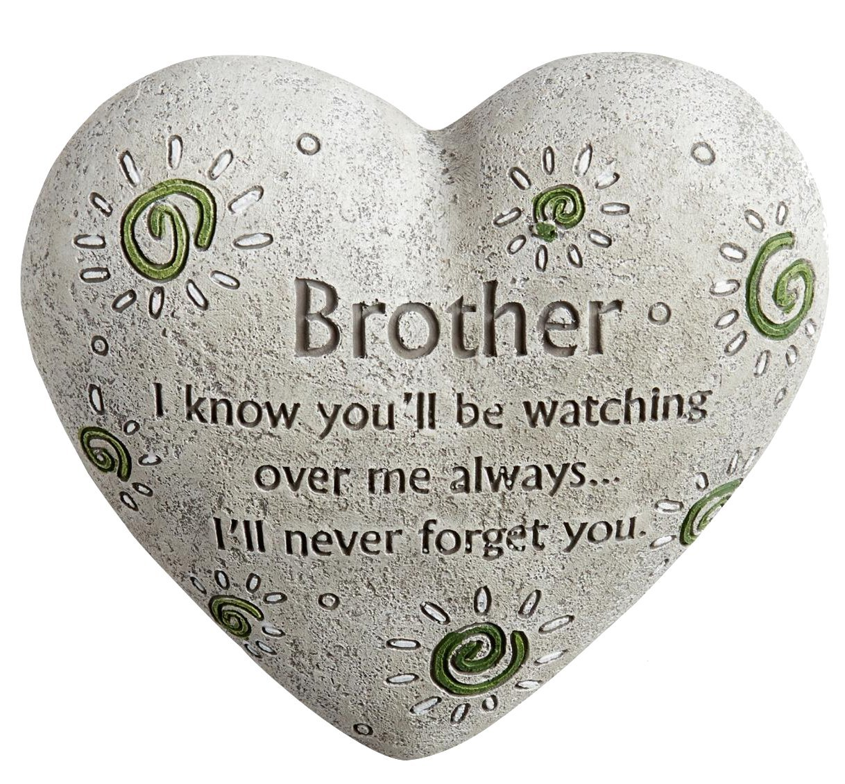 """Nantucket Home Brother Engraved Painted Heart Sibling Memorial Garden Stone, Cement Construction, 6""""L x 6""""W x 3""""H"""