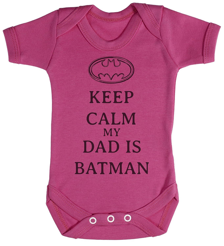 Calm My Dad Is Batman Body b/éb/é cadeaux de b/éb/é 0-3 Mois Rose TRS