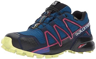 Salomon Speedcross 4 GTX Damen Trailrunning-Schuhe, Blau (Poseidon/Virtual Pink/Sunny Lime), 39 1/3 EU