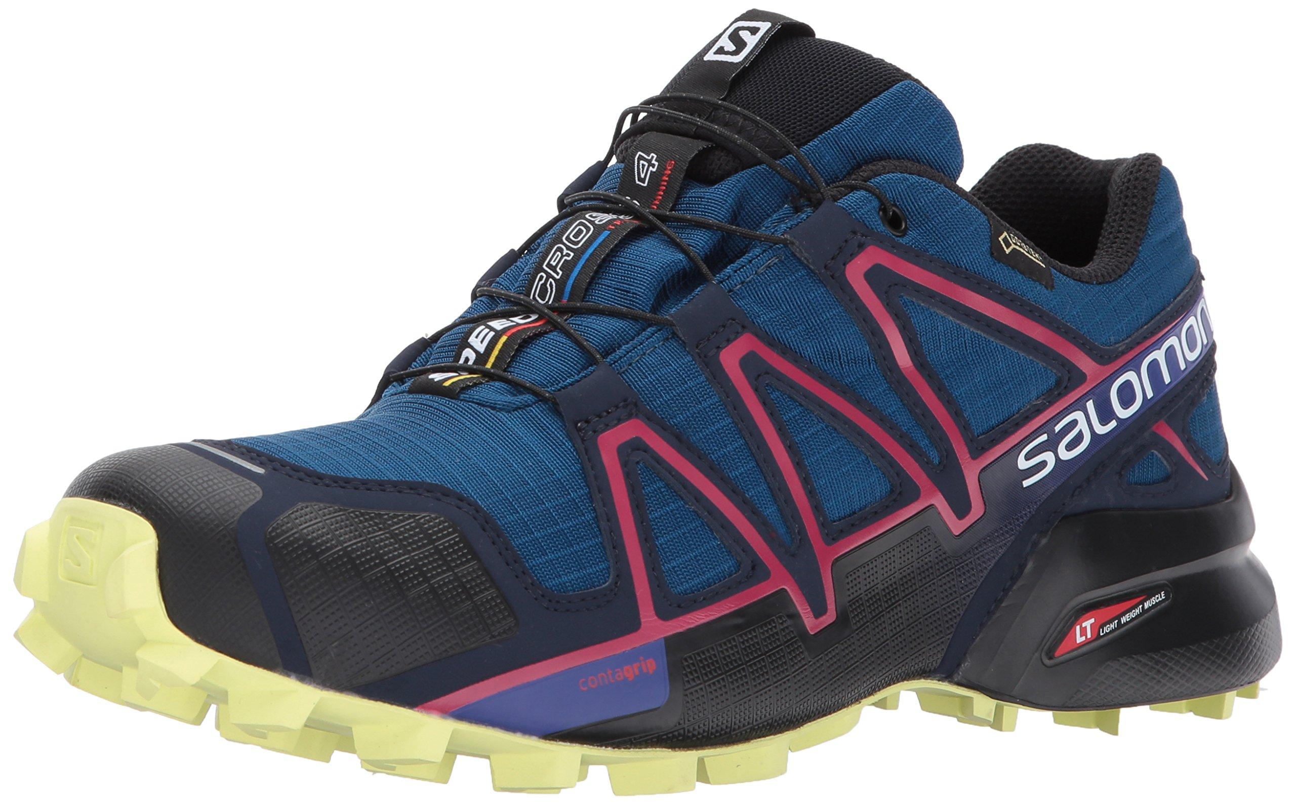 Salomon Women's Speedcross 4 Gtx W Mountaineering Boot, Poseidon/Virtual Pink/Sunny Lime, 11 M US