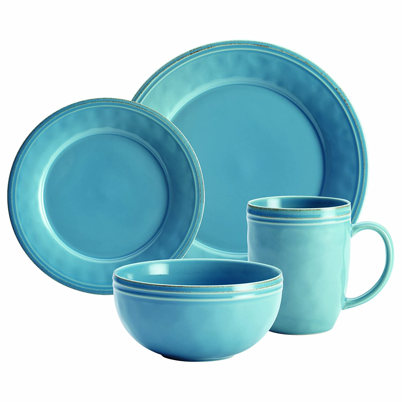 Rachael Ray Cucina 16-Piece Stoneware Dinnerware Set, Agave Blue ...