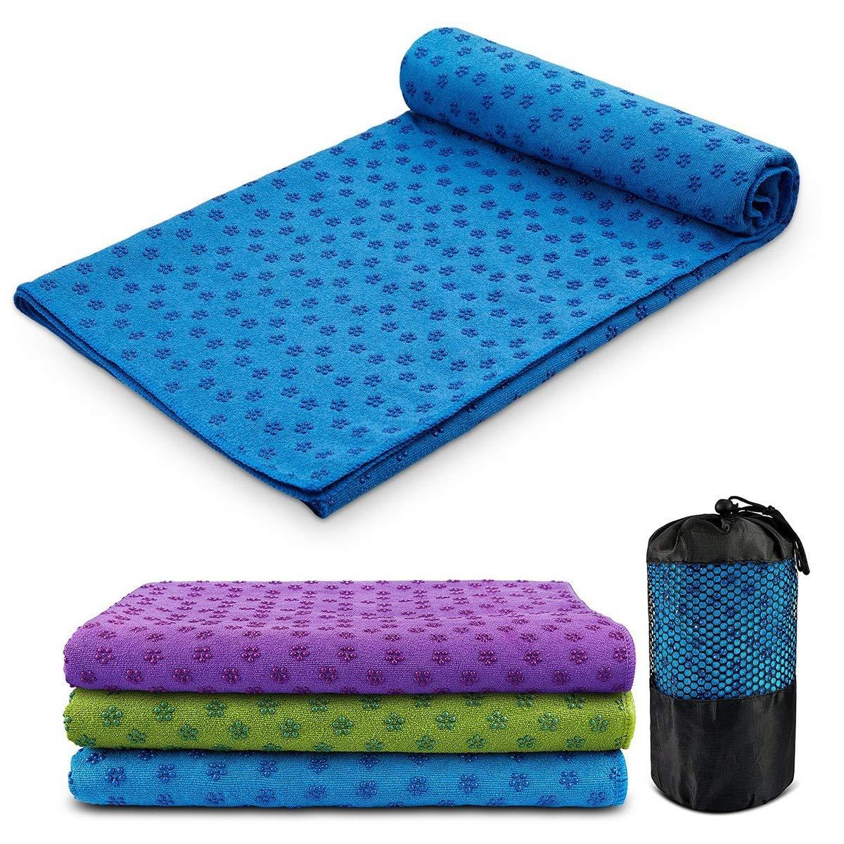Amazon.com: Yoga Mat Towel Microfiber No-Slip Yoga Mat Cover ...