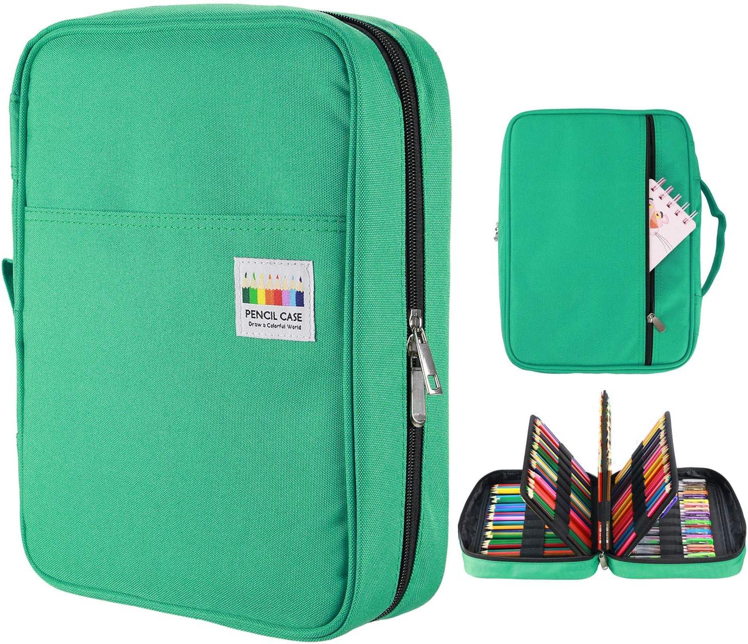 YOUSHARES 220 Slots couleur /étui /à crayons Handy multicouche couleur crayon porte pour paillettes Vert 145 Slots gel stylos FO Coloriage organisateur de cas
