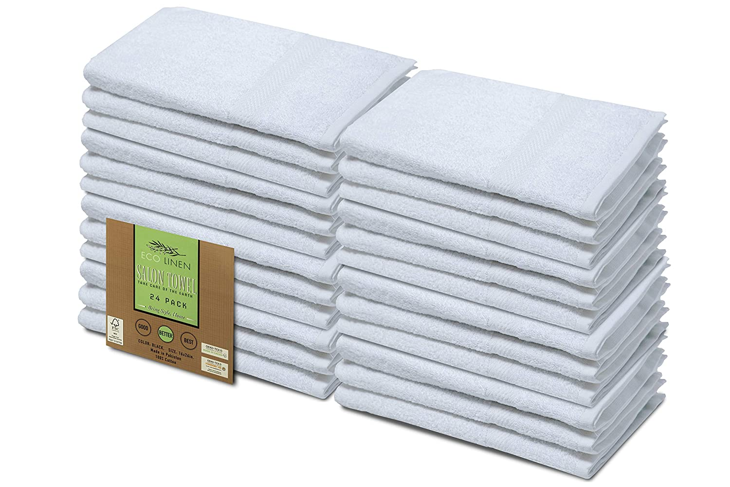 Eco Linen Cotton Salon Towels Gym Towel Hand Towel - Maximum Softness and Absorbency - 16 x 26 inches Easy Care Organic Cotton 24-Pack, White