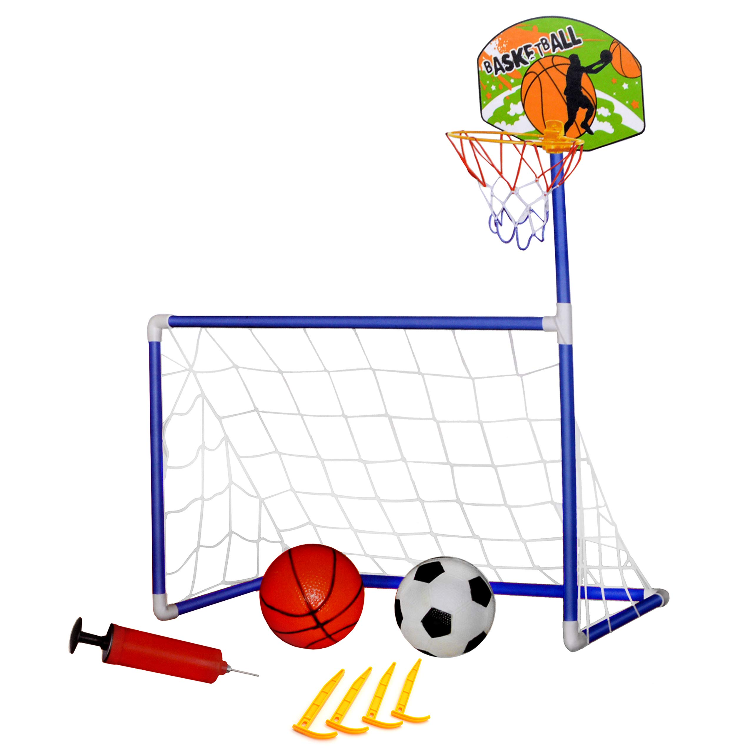 2 in 1 Basketball and Soccer Kids Play Set - Sports Indoor/Outdoor Toys for Boys and Toddlers - Includes Hoop and Goal - (Futbol y Basketball para Niños) by Jimmy's Toys