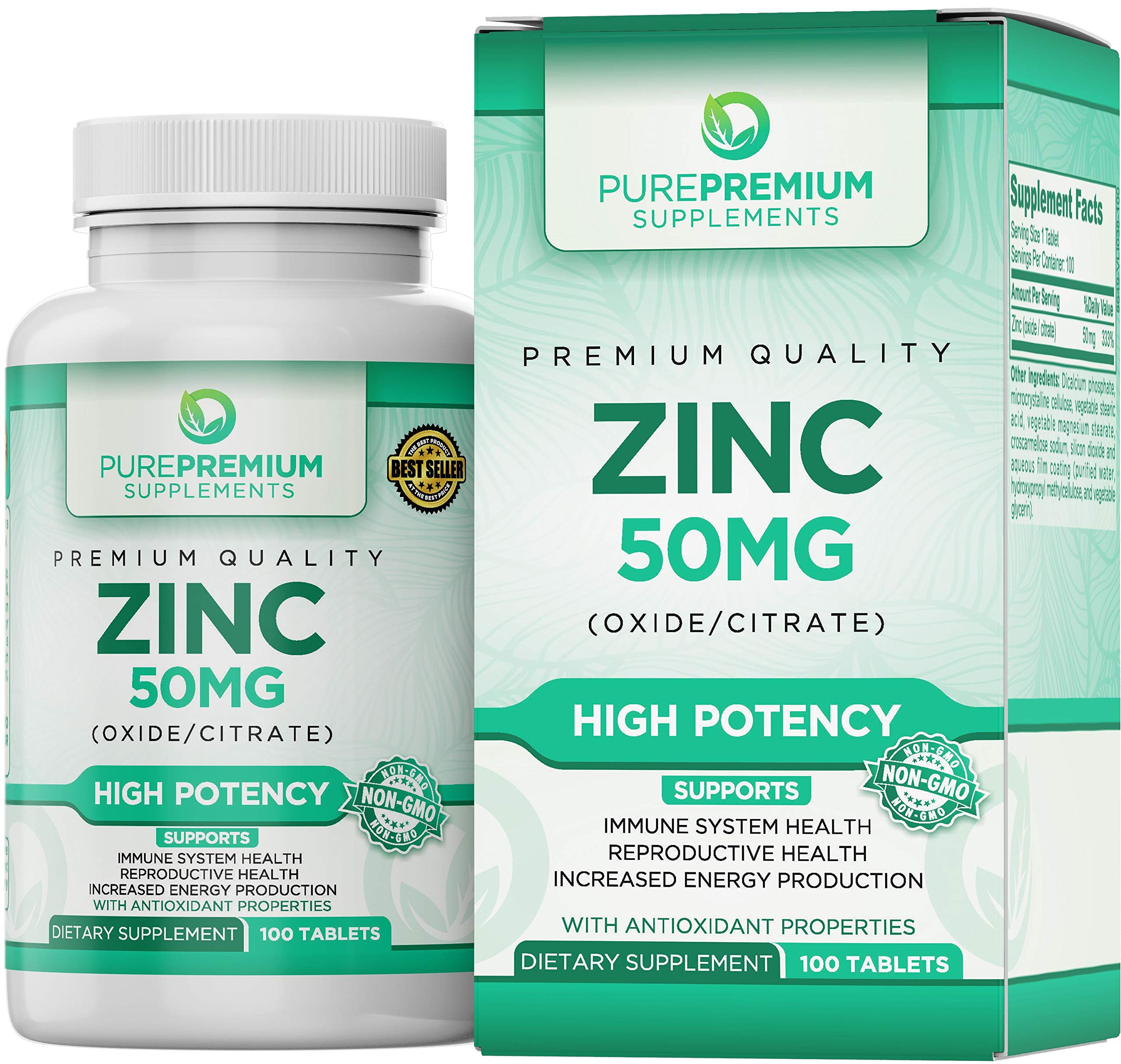 Premium Zinc Oxide - Citrate Supplement by PurePremium Supplements 100 Tablets, 50mg - Supports Immune System & Reproductive Health - Antioxidant Properties & Increased Energy Production