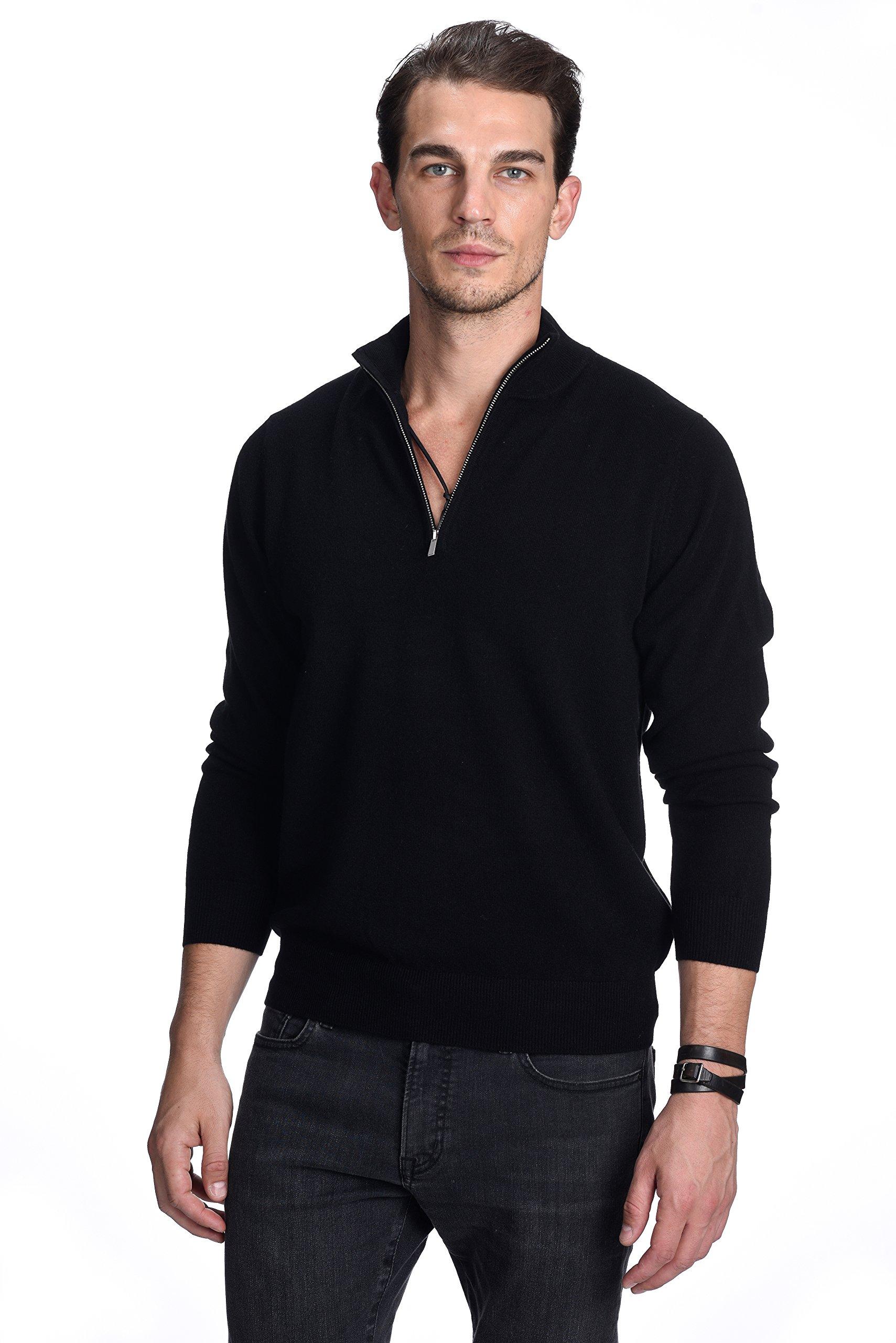 State Cashmere Men's 100% Pure Cashmere Pullover Half Zip Mock Neck Sweater (Large, Black)