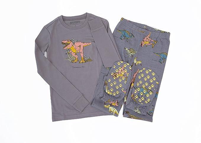 Big Feet Pijamas 2 Piezas Pijamas Footed Jurásico los Dinosaurios (3-4) Estaño