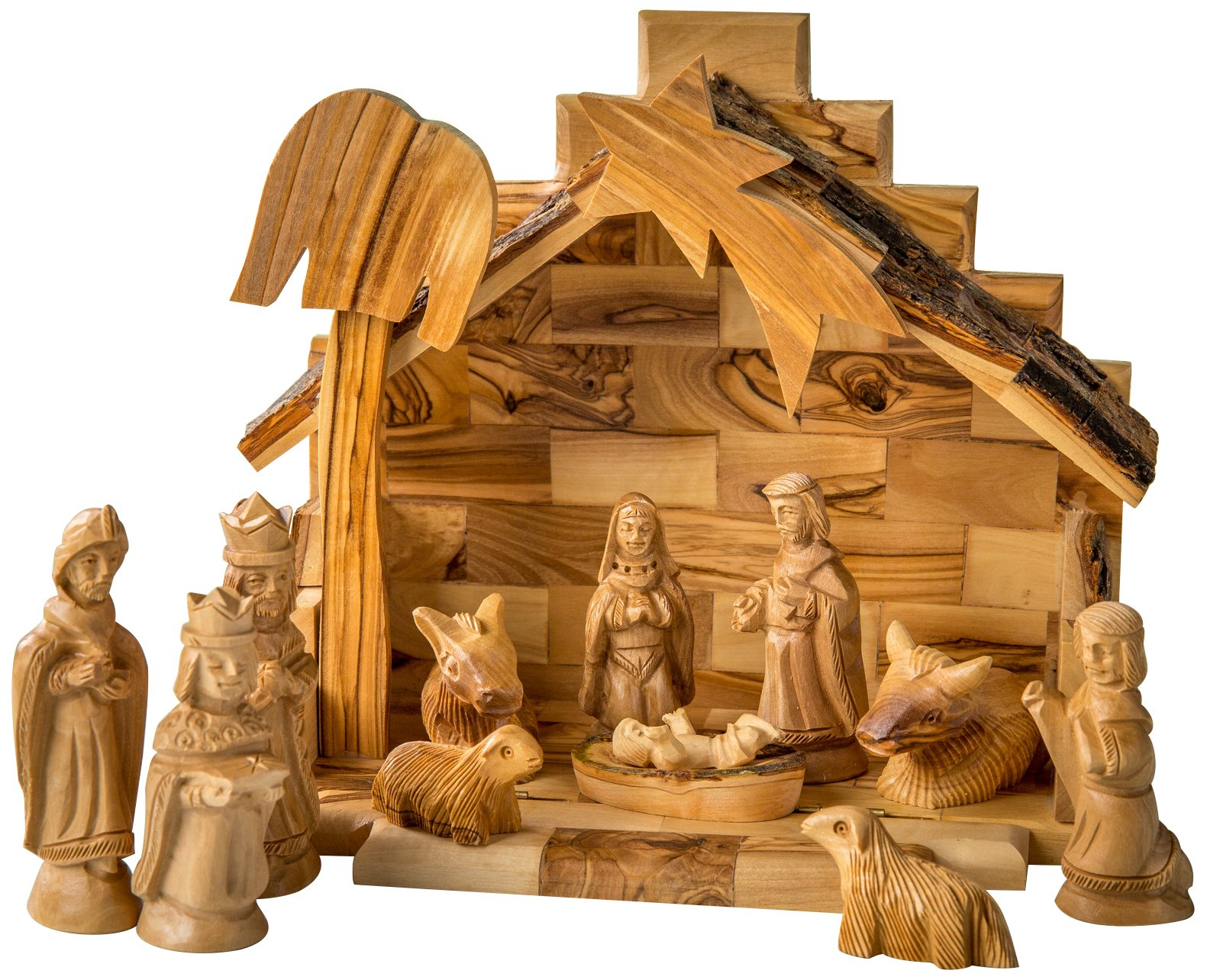Earthwood Olive Wood Stable and Nativity Set with Traditional Figures by Earthwood