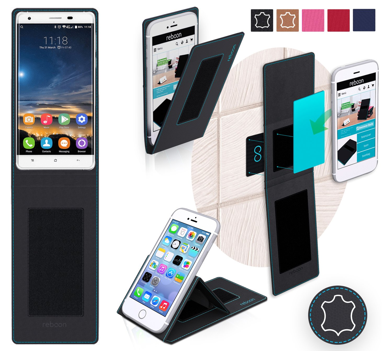 Funda para Oukitel K6000 Pro en Cuero Negro: Amazon.es ...