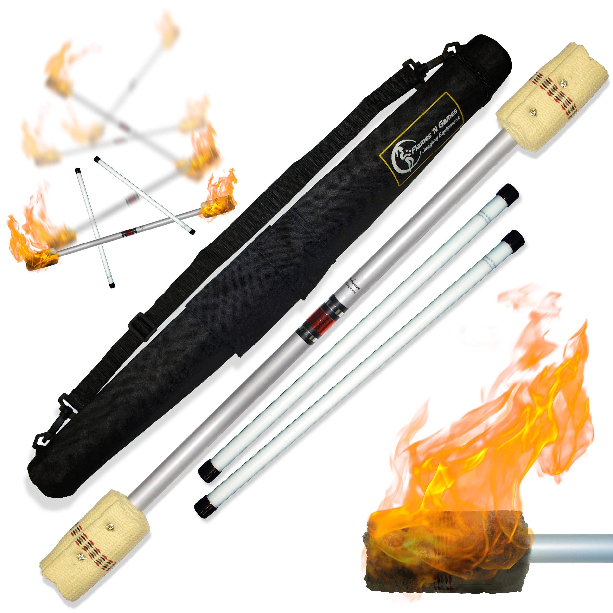 Flames N Games FIRE Devil Stick Set (100mm Wicks) Ultra-Strong FIBRE Sticks + Travel Bag! Juggling Devil sticks for Beginners & Pro's alike! by Flames N Games Fire Devil Sticks/Flower Sticks