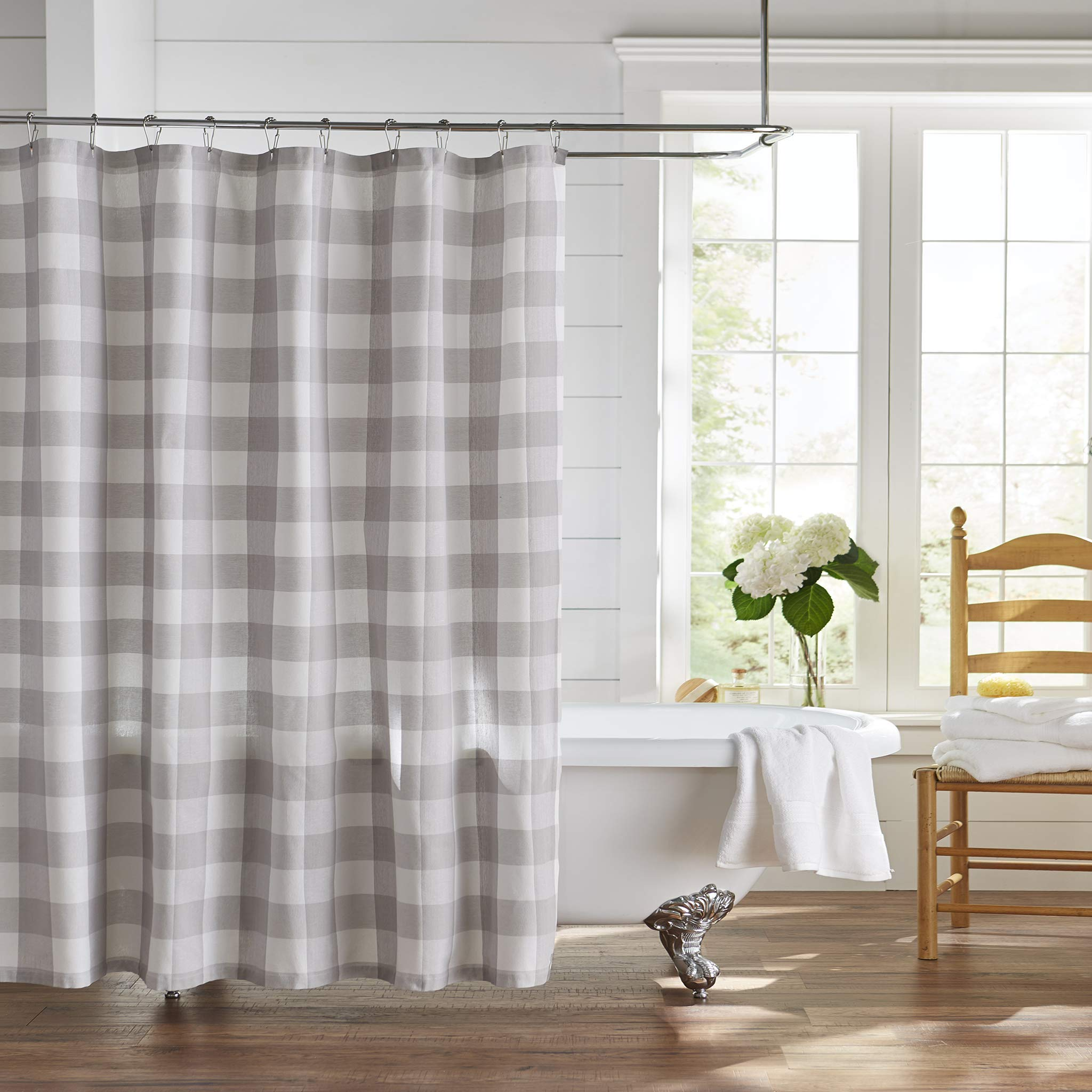 Elrene Home Fashions Farmhouse Living Buffalo Check Shower Curtain, 72'' x 72'', Gray/White