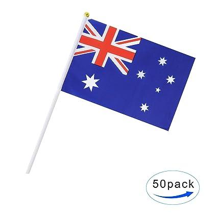 amazon com 50 pack hand held australia flag australian flag stick