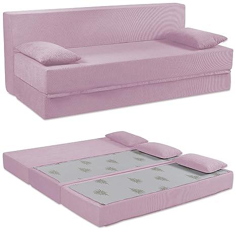 Baldiflex Sofá Cama de 3 Plazas Espuma viscoelastica, Modelo Tetris. Confortable Funda extraíble y Lavable. Color Lilla.
