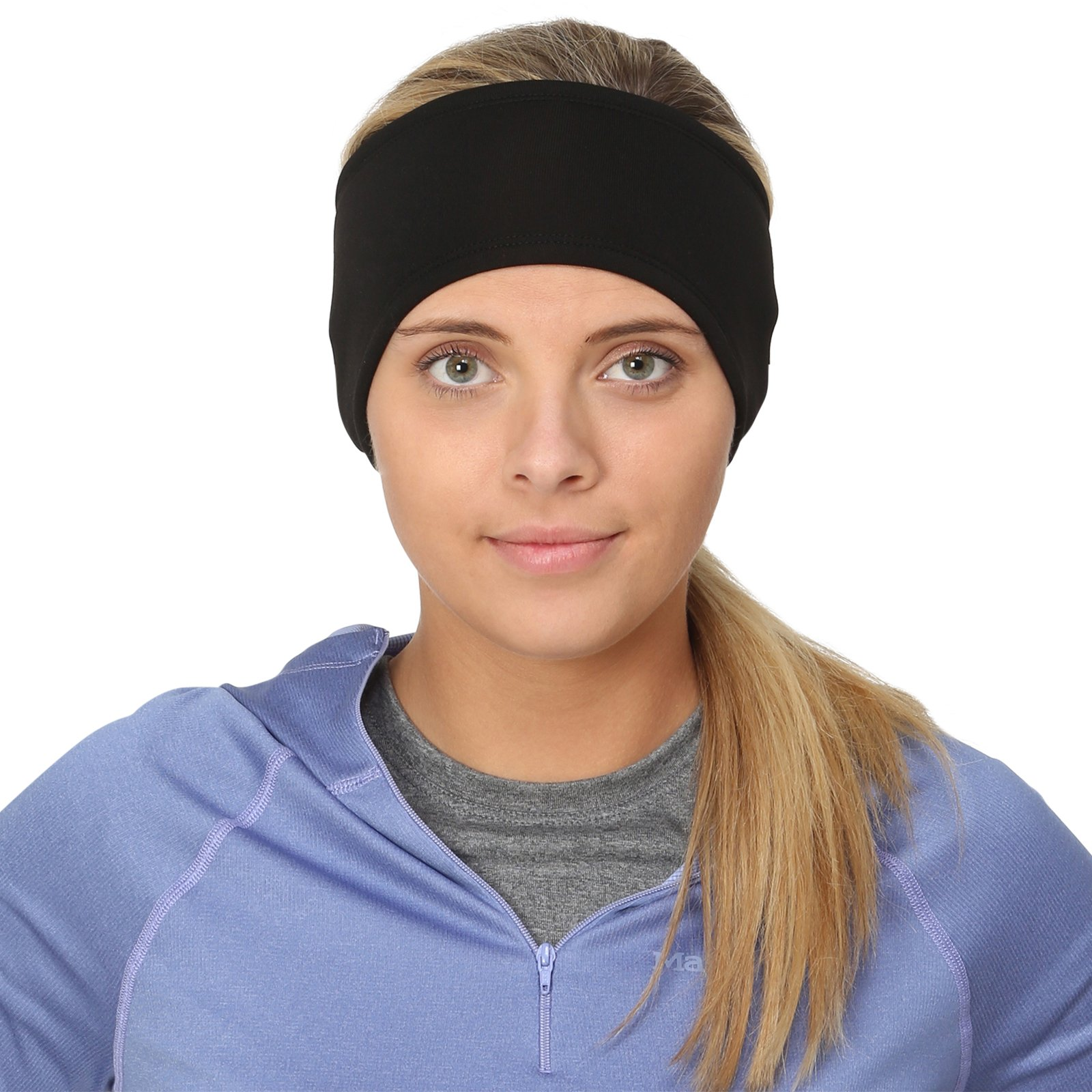 TrailHeads Women's Ponytail Headband | Moisture Wicking Ear Band | The Power Running Headband - Black by TrailHeads