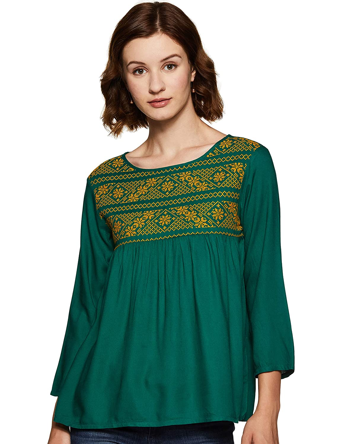 THE VANCA Women's Peach Rayon Top with Embroidery