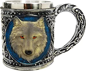Ebros Gift Alpha Gray Wolf Celtic Tribal Magic Resin 16oz Mug With Stainless Steel Rim Figurine For Coffee Tea Cereal Drinks Halloween Party Hosting Kitchen Dining Decor Of Wolves Timberwolf Direwolf