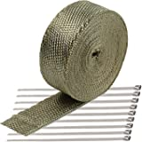 """ConPus 2"""" x 50' Titanium Exhaust Heat Wrap Roll for Motorcycle Fiberglass Heat Shield Tape with Stainless Ties"""